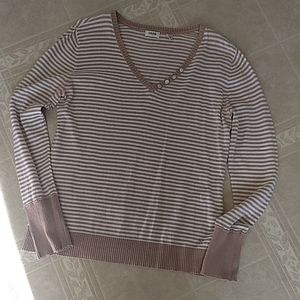 Women's Izod sweater in tan and white stripe.